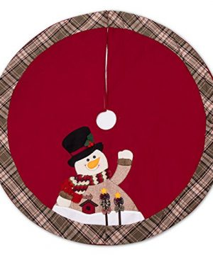 IPEGTOP 48 Christmas Tree Skirt Snowman Xmas Tree Skirt Holiday Decorations Cherry Non Woven And Tartan Rim 0 300x360