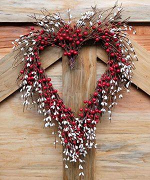 Idyllic Heart Wreath Handmade Red Berry Heart Shaped Wreath Rustic Twig For Door Decorative Classic Indoor Decor 18 Inches Valentines Wreath 0 2 300x360