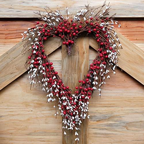 Idyllic Heart Wreath Handmade Red Berry Heart Shaped Wreath Rustic Twig For Door Decorative Classic Indoor Decor 18 Inches Valentines Wreath 0 2