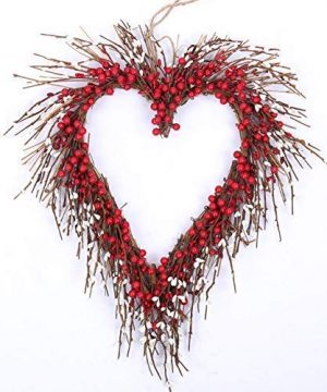 Idyllic Heart Wreath Handmade Red Berry Heart Shaped Wreath Rustic Twig For Door Decorative Classic Indoor Decor 18 Inches Valentines Wreath 0 300x360