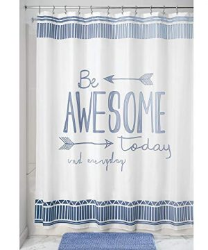 MDesign Decorative Be Awesome Quote Easy Care Fabric Shower Curtain With Reinforced Buttonholes For Bathroom Showers Stalls And Bathtubs Machine Washable 72 X 72 BlueWhite 0 300x360