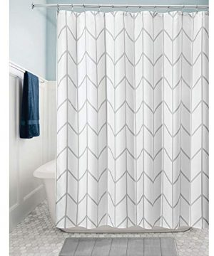 MDesign Decorative Chevron Zig Zag Print Easy Care Fabric Shower Curtain With Reinforced Buttonholes For Bathroom Showers Stalls And Bathtubs Machine Washable 72 X 72 GrayWhite 0 0 300x360