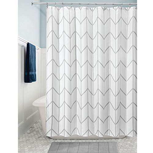 MDesign Decorative Chevron Zig Zag Print Easy Care Fabric Shower Curtain With Reinforced Buttonholes For Bathroom Showers Stalls And Bathtubs Machine Washable 72 X 72 GrayWhite 0 0