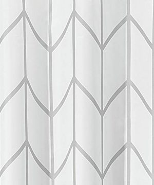 MDesign Decorative Chevron Zig Zag Print Easy Care Fabric Shower Curtain With Reinforced Buttonholes For Bathroom Showers Stalls And Bathtubs Machine Washable 72 X 72 GrayWhite 0 1 300x360