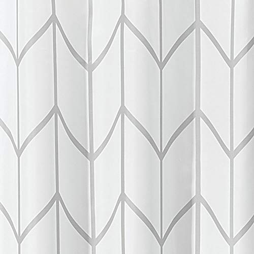 MDesign Decorative Chevron Zig Zag Print Easy Care Fabric Shower Curtain With Reinforced Buttonholes For Bathroom Showers Stalls And Bathtubs Machine Washable 72 X 72 GrayWhite 0 1
