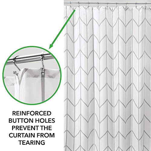 MDesign Decorative Chevron Zig Zag Print Easy Care Fabric Shower Curtain With Reinforced Buttonholes For Bathroom Showers Stalls And Bathtubs Machine Washable 72 X 72 GrayWhite 0 2