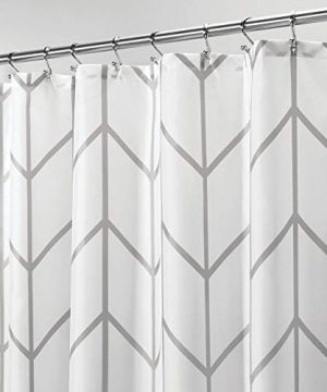 MDesign Decorative Chevron Zig Zag Print Easy Care Fabric Shower Curtain With Reinforced Buttonholes For Bathroom Showers Stalls And Bathtubs Machine Washable 72 X 72 GrayWhite 0 300x360