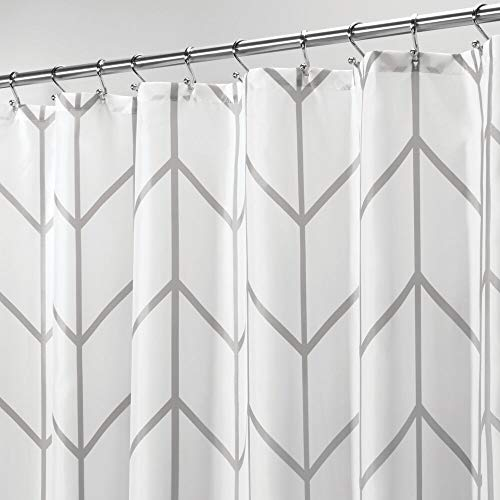 MDesign Decorative Chevron Zig Zag Print Easy Care Fabric Shower Curtain With Reinforced Buttonholes For Bathroom Showers Stalls And Bathtubs Machine Washable 72 X 72 GrayWhite 0