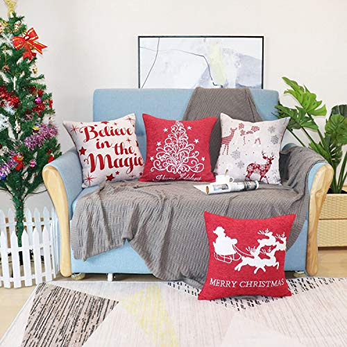 Sykting Christmas Pillow Covers Farmhouse Decorative Soft Chenille Throw Pillow Cases 18x18 Inch Set Of 4 Winter Holiday Decorations Christmas Santa Tree Reindeer Letter 0 0