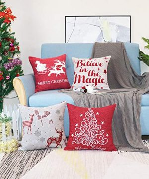 Sykting Christmas Pillow Covers Farmhouse Decorative Soft Chenille Throw Pillow Cases 18x18 Inch Set Of 4 Winter Holiday Decorations Christmas Santa Tree Reindeer Letter 0 1 300x360