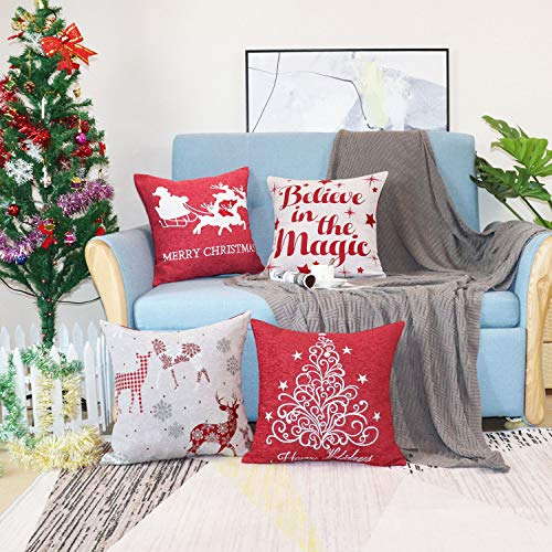 Sykting Christmas Pillow Covers Farmhouse Decorative Soft Chenille Throw Pillow Cases 18x18 Inch Set Of 4 Winter Holiday Decorations Christmas Santa Tree Reindeer Letter 0 1