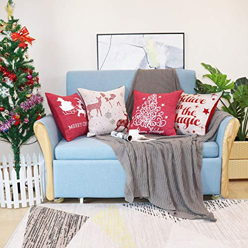 Sykting Christmas Pillow Covers Farmhouse Decorative Soft Chenille Throw Pillow Cases 18x18 Inch Set Of 4 Winter Holiday Decorations Christmas Santa Tree Reindeer Letter 0 2