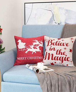 Sykting Christmas Pillow Covers Farmhouse Decorative Soft Chenille Throw Pillow Cases 18x18 Inch Set Of 4 Winter Holiday Decorations Christmas Santa Tree Reindeer Letter 0 3 300x360