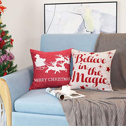 Sykting Christmas Pillow Covers Farmhouse Decorative Soft Chenille Throw Pillow Cases 18x18 Inch Set Of 4 Winter Holiday Decorations Christmas Santa Tree Reindeer Letter 0 3