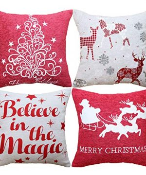 Sykting Christmas Pillow Covers Farmhouse Decorative Soft Chenille Throw Pillow Cases 18x18 Inch Set Of 4 Winter Holiday Decorations Christmas Santa Tree Reindeer Letter 0 300x360