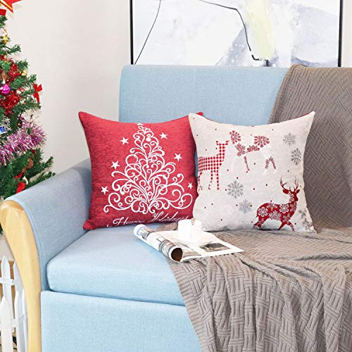 Sykting Christmas Pillow Covers Farmhouse Decorative Soft Chenille Throw Pillow Cases 18x18 Inch Set Of 4 Winter Holiday Decorations Christmas Santa Tree Reindeer Letter 0 5