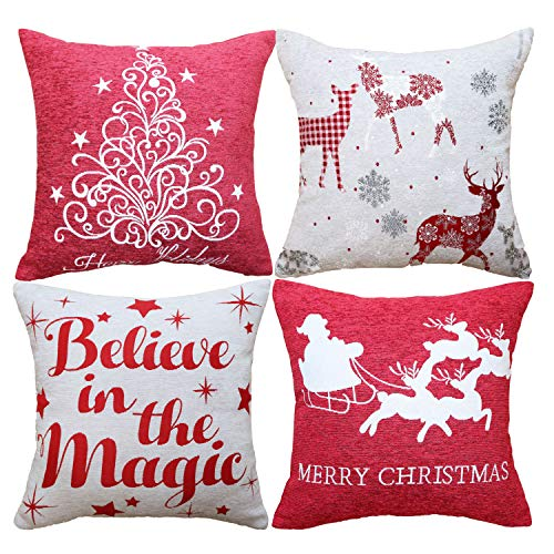 Sykting Christmas Pillow Covers 18x18 Inch Farmhouse Winter Holiday Gray And Red Buffalo Check Plaid Throw Pillow Covers Chenille Jacquard Santa Tree