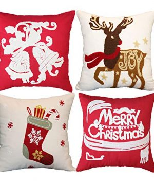 Sykting Christmas Pillow Covers Farmhouse Winter Holiday Festival Decorative Pillow Covers 18x18 Inch Set Of 4 With Embroidery Bells Reindeer Socks Letter 0 300x360