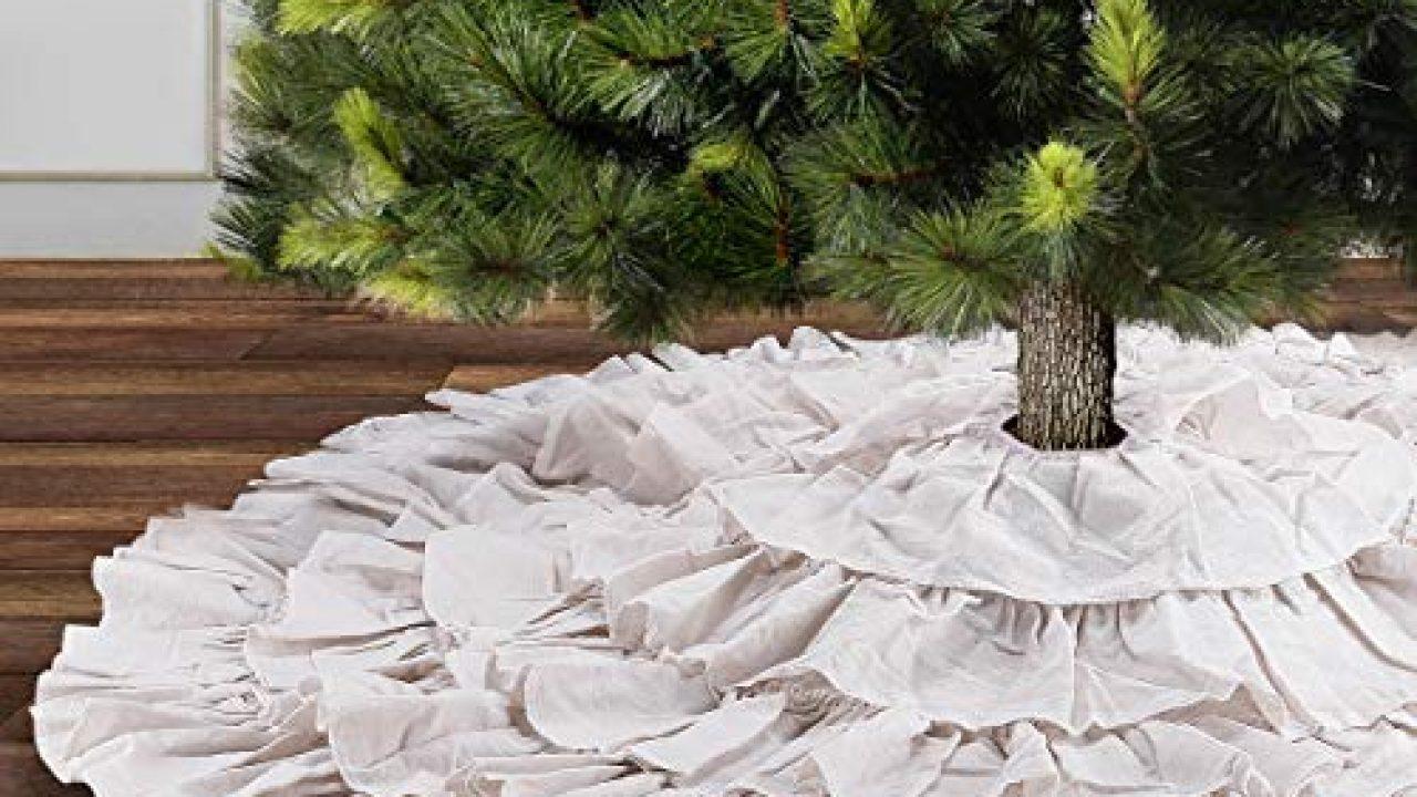 Yuboo White Ruffle Christmas Tree Skirt 48 Inches 6 Layer Rustic Xmas Tree Holiday Decorations Farmhouse Goals