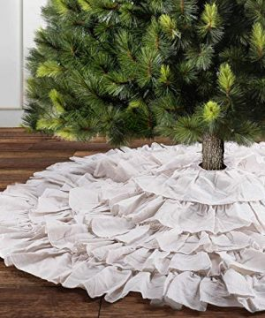 Yuboo Christmas Tree Skirt 50 Inches Burlap 6 Layer Rustic Xmas Tree Holiday Decorations Red White 0 300x360