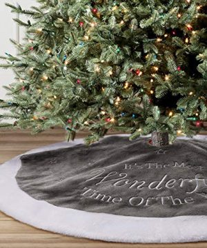 Yuboo Grey Christmas Tree Skirt 36 Fur Plush Christmas Decorations For Xmas Party And Holiday 0 300x360