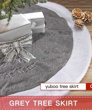 Yuboo Grey Christmas Tree Skirt 36 Fur Plush Christmas Decorations For Xmas Party And Holiday 0 5 300x360