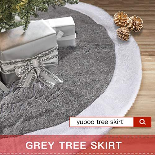 Yuboo Grey Christmas Tree Skirt 36 Fur Plush Christmas Decorations For Xmas Party And Holiday 0 5