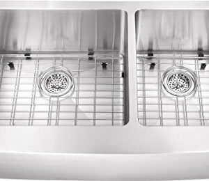 0263AP 36x20x10 6040 Farmhouse Apron Front Farm House 16 Gauge Double Bowl Stainless Steel Sink INCLUDES Grid Set And Strainers 0 300x260