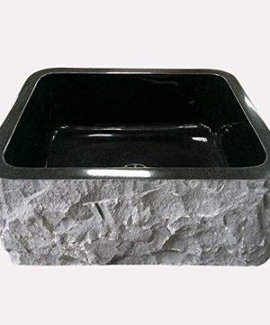 24 Buford Polished Black Granite Single Bowl Farmhouse Sink Chiseled Apron 0 0 300x360