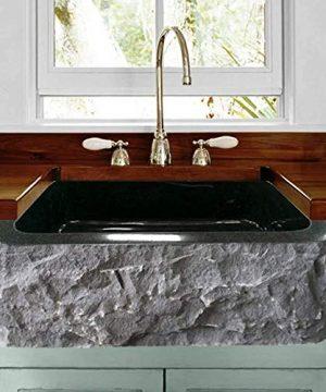 24 Buford Polished Black Granite Single Bowl Farmhouse Sink Chiseled Apron 0 300x360
