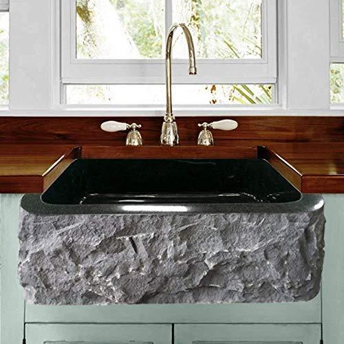 24 Buford Polished Black Granite Single Bowl Farmhouse Sink Chiseled Apron 0
