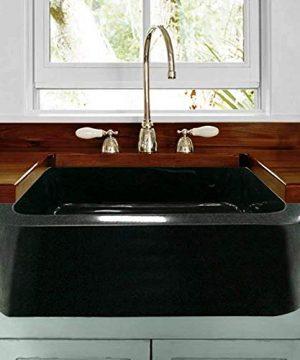 24 Mableton Smooth Polished Black Granite Single Bowl Farmhouse Sink 0 300x360