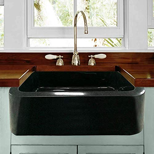 24 Mableton Smooth Polished Black Granite Single Bowl Farmhouse Sink 0