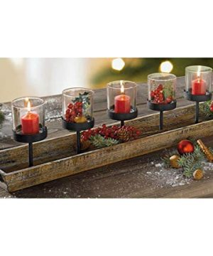 275 In Rustic Wood Candle Centerpiece Tray W Five Metal Candle Holders Product SKU CL229603 0 0 300x360