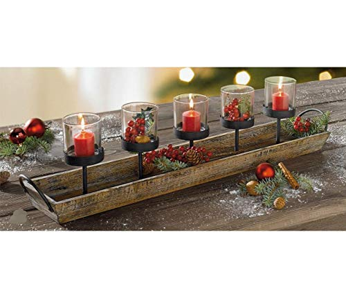 275 In Rustic Wood Candle Centerpiece Tray W Five Metal Candle Holders Product SKU CL229603 0 0