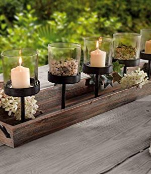 275 In Rustic Wood Candle Centerpiece Tray W Five Metal Candle Holders Product SKU CL229603 0 1 300x347