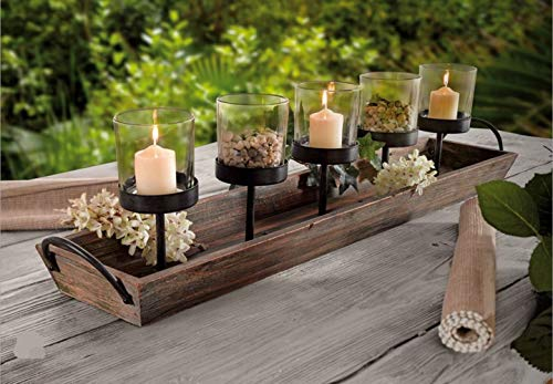 275 In Rustic Wood Candle Centerpiece Tray W Five Metal Candle Holders Product SKU CL229603 0 1
