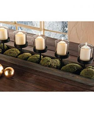 275 In Rustic Wood Candle Centerpiece Tray W Five Metal Candle Holders Product SKU CL229603 0 2 300x360