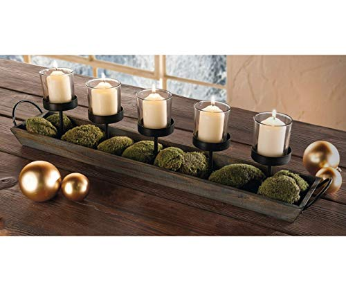 275 In Rustic Wood Candle Centerpiece Tray W Five Metal Candle Holders Product SKU CL229603 0 2