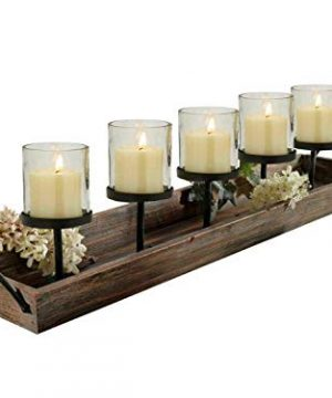 275 In Rustic Wood Candle Centerpiece Tray W Five Metal Candle Holders Product SKU CL229603 0 300x360