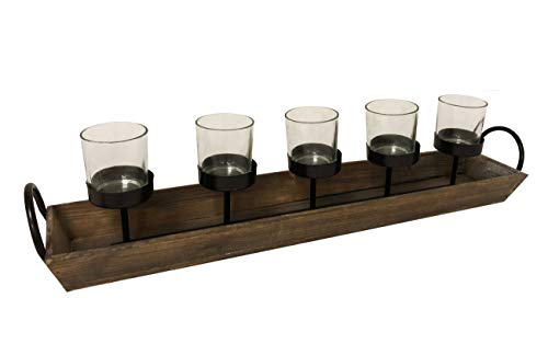 275 In Rustic Wood Candle Centerpiece Tray W Five Metal Candle Holders Product SKU CL229603 0 4