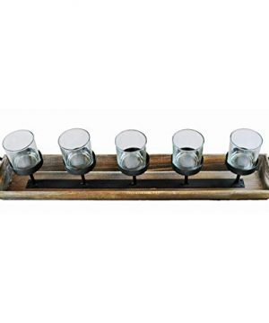 275 In Rustic Wood Candle Centerpiece Tray W Five Metal Candle Holders Product SKU CL229603 0 5 300x360