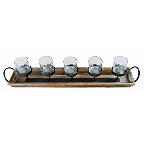 275 In Rustic Wood Candle Centerpiece Tray W Five Metal Candle Holders Product SKU CL229603 0 5