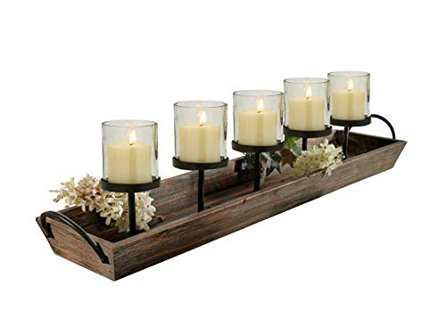 275 In Rustic Wood Candle Centerpiece Tray W Five Metal Candle Holders Product SKU CL229603 0