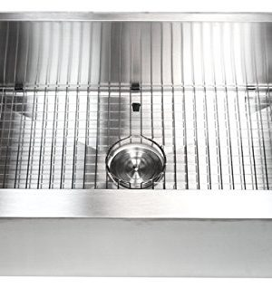 33 Inch Farmhouse Apron Front Stainless Steel Kitchen Sink Package 16 Gauge Flat Front Single Bowl Basin Complete Sink Pack Bonus Kitchen Accessories 0 2 300x318