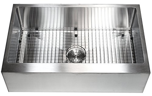 33 Inch Farmhouse Apron Front Stainless Steel Kitchen Sink Package 16 Gauge Flat Front Single Bowl Basin Complete Sink Pack Bonus Kitchen Accessories 0 2