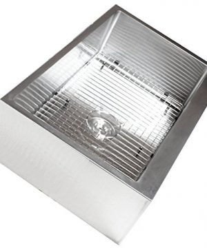 33 Inch Farmhouse Apron Front Stainless Steel Kitchen Sink Package 16 Gauge Flat Front Single Bowl Basin Complete Sink Pack Bonus Kitchen Accessories 0 4 300x360