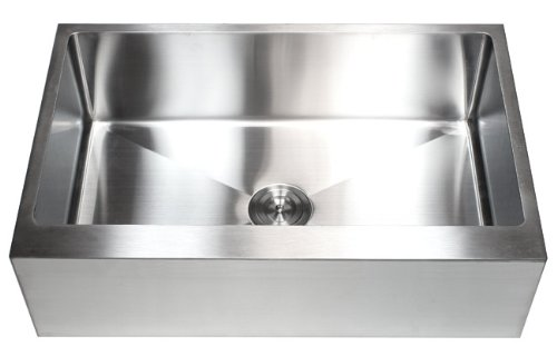 33 Inch Farmhouse Apron Front Stainless Steel Kitchen Sink Package 16 Gauge Flat Front Single Bowl Basin Complete Sink Pack Bonus Kitchen Accessories 0 5