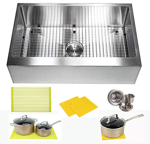 33 Inch Farmhouse Apron Front Stainless Steel Kitchen Sink Package 16 Gauge Flat Front Single Bowl Basin Complete Sink Pack Bonus Kitchen Accessories 0