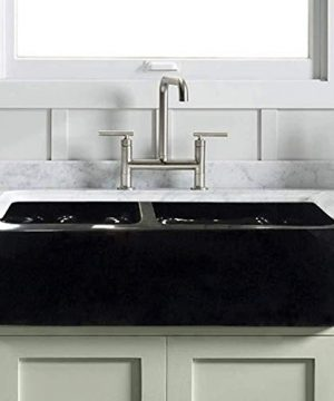 33 Mableton Smooth Polished Black Granite 6040 Offset Double Bowl Farmhouse Sink 0 300x360